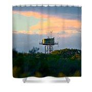 Water Tower In Orange Sunset Shower Curtain