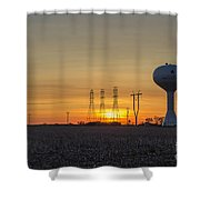 Water Tower Of Sunset Shower Curtain