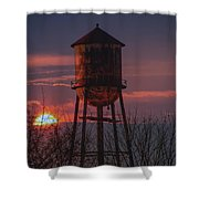 Water Tower Sunset Shower Curtain