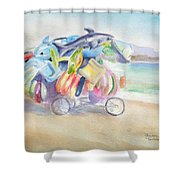 Water Toy Vendor On Teh Beaches Of Santiago Bay, Manzanillo Shower Curtain