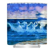 Water Unicorns Shower Curtain