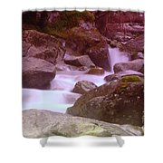 Water Winding Through Rocks Shower Curtain