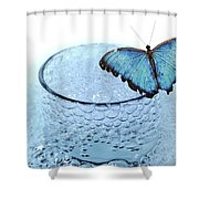 Water With Butterfly Shower Curtain