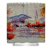Watercolor Anseremme Shower Curtain