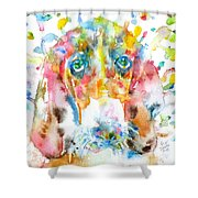 Watercolor Basset Hound Shower Curtain