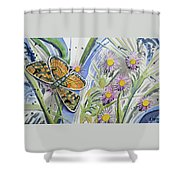 Watercolor - Checkerspot Butterfly With Wildflowers Shower Curtain by Cascade Colors