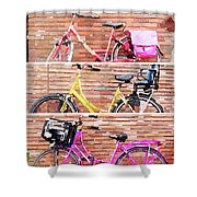 Watercolor Collage Of Three Bicycles In Triptych Shower Curtain