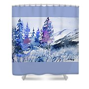 Watercolor - Colorado Winter Wonderland Shower Curtain