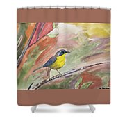 Watercolor - Common Yellowthroat Shower Curtain