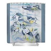Watercolor - Crane Ballet Shower Curtain
