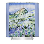 Watercolor - Crested Butte Lupine Landscape Shower Curtain by Cascade Colors