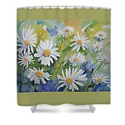 Watercolor - Daisies And Common Blue Butterflies Shower Curtain
