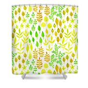 Watercolor Doodle Leaves Pattern White  Shower Curtain