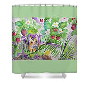 Watercolor - Field Mouse With Wild Strawberries Shower Curtain
