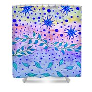 Watercolor Flowers And Leaves Shower Curtain