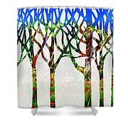 Watercolor Forest Silhouette Summer Shower Curtain