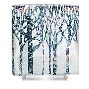 Watercolor Forest Silhouette Winter Shower Curtain