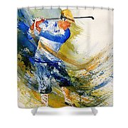 Watercolor  Golf Player Shower Curtain
