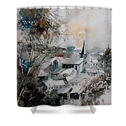Watercolor Houyet  Shower Curtain