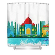 Watercolor Illustration Of Delhi Shower Curtain