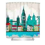 Watercolor Illustration Of London Shower Curtain