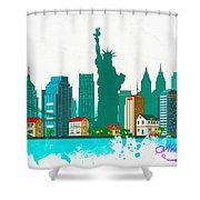 Watercolor Illustration Of New York Shower Curtain