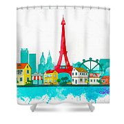 Watercolor Illustration Of Paris Shower Curtain