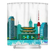 Watercolor Illustration Of Seoul Shower Curtain