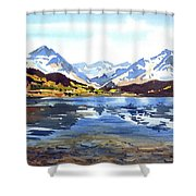 Watercolor Lake Reflection Shower Curtain