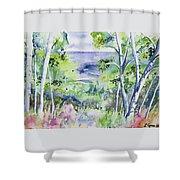 Watercolor - Lake Superior Impression Shower Curtain