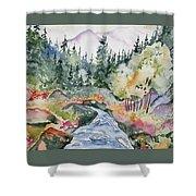 Watercolor - Long's Peak Autumn Landscape Shower Curtain