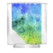 Watercolor Map Of Alberta, Canada In Blue And Green  Shower Curtain