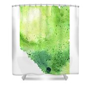 Watercolor Map Of Alberta, Canada In Green  Shower Curtain