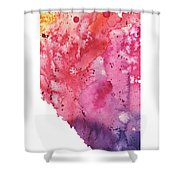 Watercolor Map Of Alberta, Canada In Orange, Red And Purple Shower Curtain