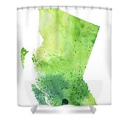 Watercolor Map Of British Columbia, Canada In Green  Shower Curtain