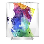 Watercolor Map Of British Columbia, Canada In Rainbow Colors  Shower Curtain