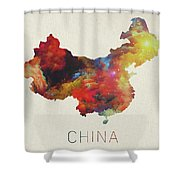 Watercolor Map Of China Shower Curtain