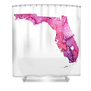 Watercolor Map Of Florida, In Pink And Purple Shower Curtain