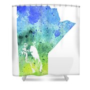 Watercolor Map Of Manitoba, Canada In Blue And Green  Shower Curtain