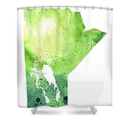 Watercolor Map Of Manitoba, Canada In Green Shower Curtain