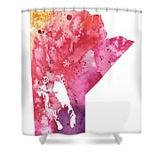 Watercolor Map Of Manitoba, Canada In Orange, Red And Purple  Shower Curtain