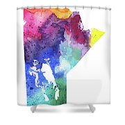 Watercolor Map Of Manitoba, Canada In Rainbow Colors  Shower Curtain