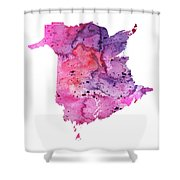 Watercolor Map Of New Brunswick, Canada In Pink And Purple  Shower Curtain