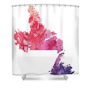 Watercolor Map Of Newfoundland And Labrador, Canada In Orange, Red And Purple  Shower Curtain