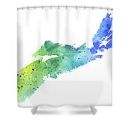 Watercolor Map Of Nova Scotia, Canada In Blue And Green  Shower Curtain