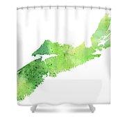 Watercolor Map Of Nova Scotia, Canada In Green  Shower Curtain