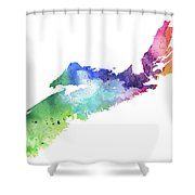 Watercolor Map Of Nova Scotia, Canada In Rainbow Colors  Shower Curtain