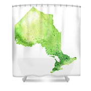Watercolor Map Of Ontario, Canada In Green  Shower Curtain