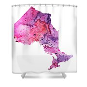 Watercolor Map Of Ontario, Canada In Pink And Purple  Shower Curtain