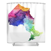Watercolor Map Of Ontario, Canada In Rainbow Colors  Shower Curtain